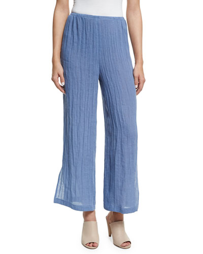 Crinkled Linen Pants, Blue Mist