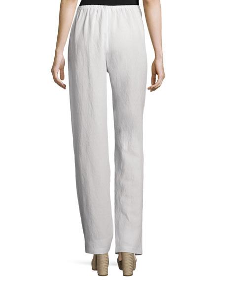 Straight-Leg Gauze Pants, White