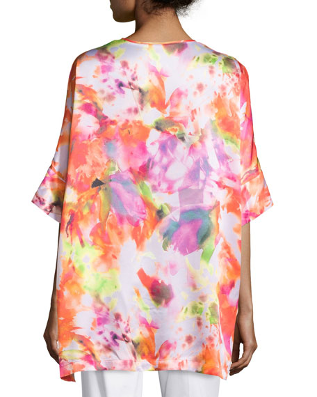 Selene Half-Sleeve Printed Silk Top
