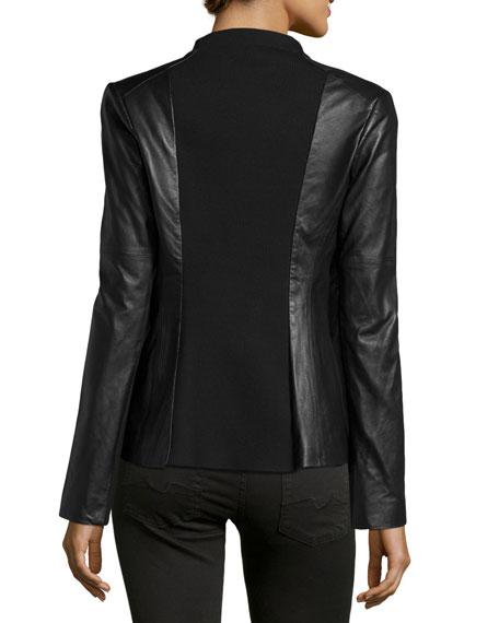 Knit-Panel Leather Blazer, Black