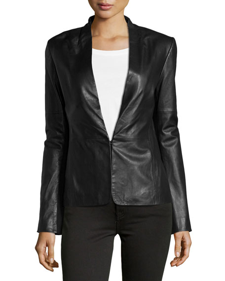 Halston Heritage Knit-Panel Leather Blazer, Black