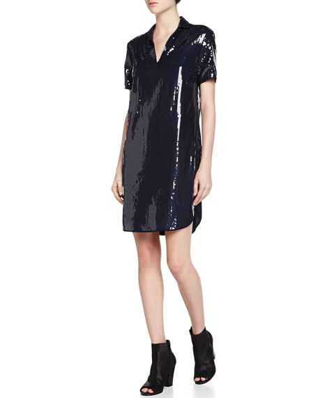 Halston Heritage Short-Sleeve Sequined Shift Dress