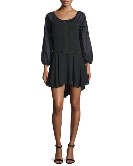 Halston Heritage Bracelet-Sleeve A-Line Dress, Black