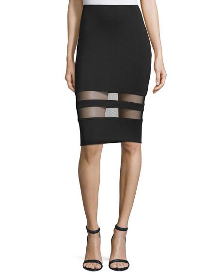 T by Alexander Wang Mesh-Stripe Lux Ponte Skirt, Black