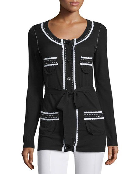 Love Moschino Contrast-Stitch Knit Cardigan, Black/White