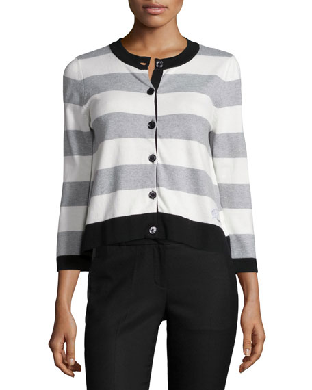 Love Moschino Button-Front Striped Cardigan, White/Black/Gray
