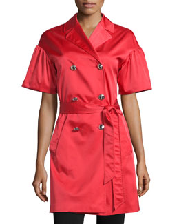 Puffed Short-Sleeve Satin Coat, Red
