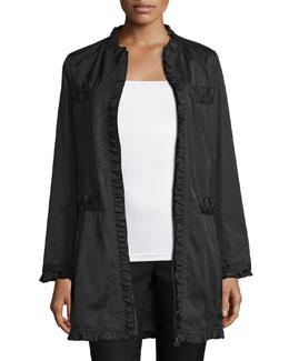 Ruffle-Trim Zip-Front Coat, Black