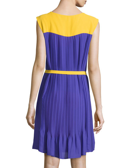 Sleeveless Colorblock Belted Dress, Yellow/Purple