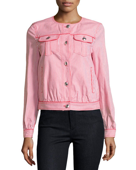 Love Moschino Skinny-Striped Button-Front Jacket, Red/White