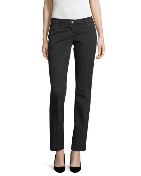 Love Moschino Low-Rise Slim-Leg Pants, Black