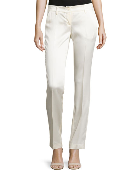 Love Moschino Creased Straight-Leg Pants, Ivory