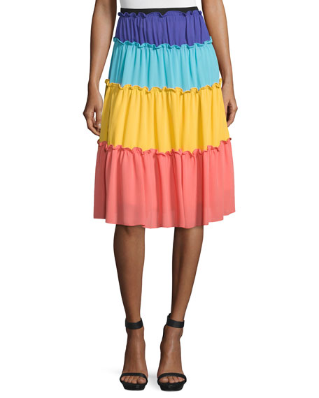 Tiered Colorblock A-Line Skirt, Multi Colors