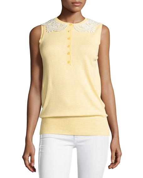 Love Moschino Sleeveless Lace-Collar Knit Top, Yellow/White