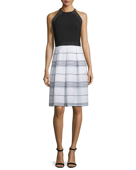 Carmen Marc Valvo Sleeveless Combo Striped Dress