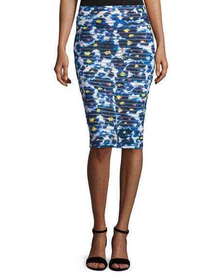 Fuzzi Floral-Print Midi Pencil Skirt