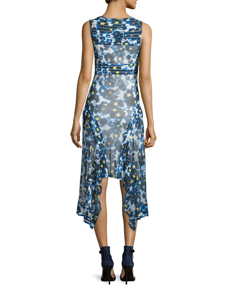 Sleeveless Printed Hanky-Hem Dress