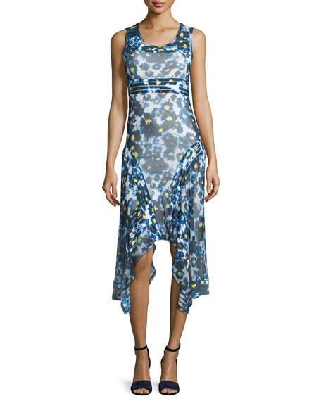 Sleeveless Printed Hanky-Hem Dress