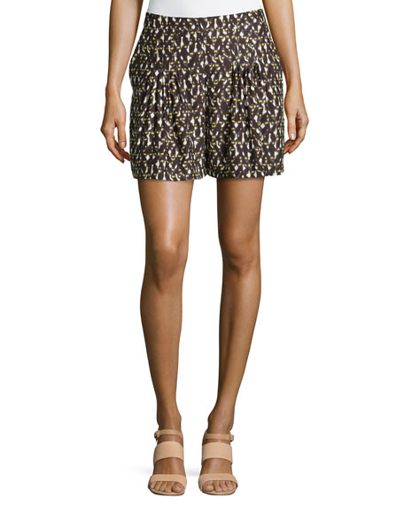 Halston Heritage Spotted Knife-Pleated Silk Shorts, Daffodil Linear