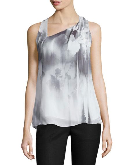 Asymmetric-Neck Floral-Print Tank, Gray/White