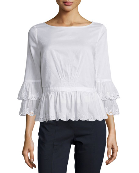 Ruffle-Sleeve Cotton Peplum Top, White