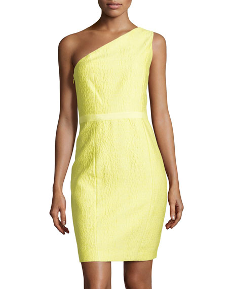 Halston Heritage One-Shoulder Jacquard Dress, Daffodil