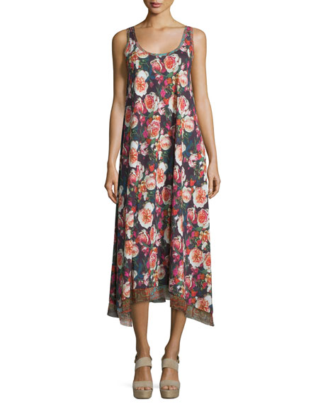 Fuzzi Floral-Print Scoop-Neck Maxi Dress