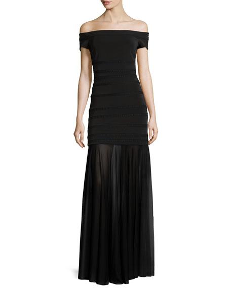 Off-The-Shoulder Sheer-Hem Gown, Black