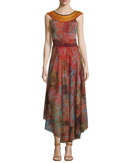 Fuzzi Moroccan Banded-Neck Full-Skirt Dress
