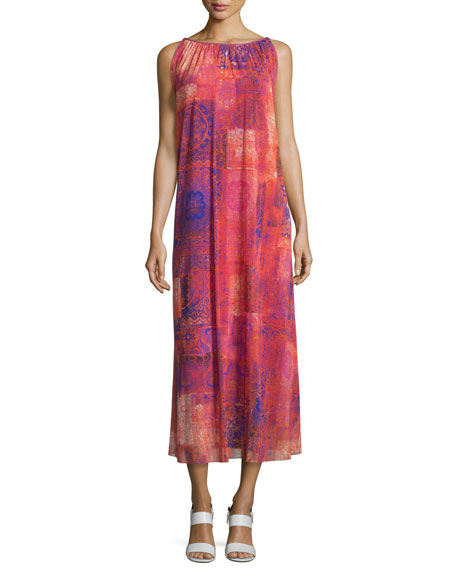 Fuzzi Caftan Body Easy Printed Long Dress