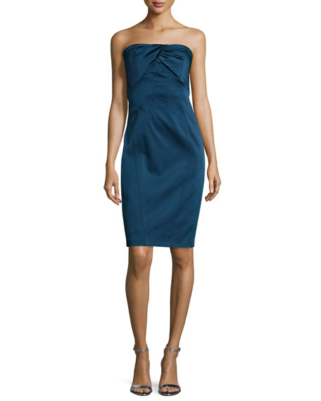 ZAC Zac Posen Natasha Twisted-Neckline Strapless Dress, Nightfall