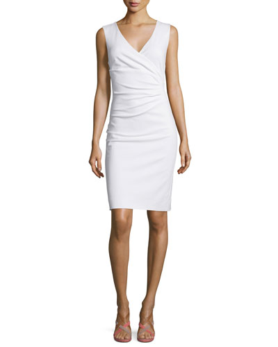 Layne Ruched Sheath Dress, White