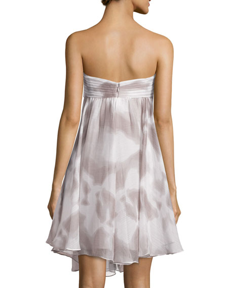 Strapless Ruffled Sweetheart Dress, Mist/White