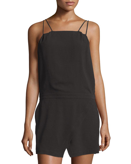 Halston Heritage Sleeveless Cross-Front Romper, Black