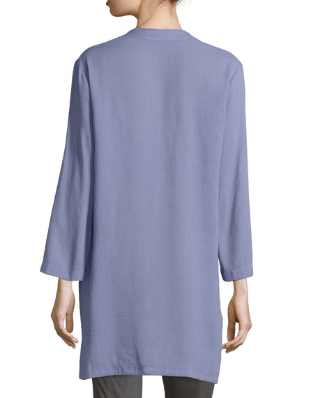 Notched V Neck High-Low Tunic Top, Lavender