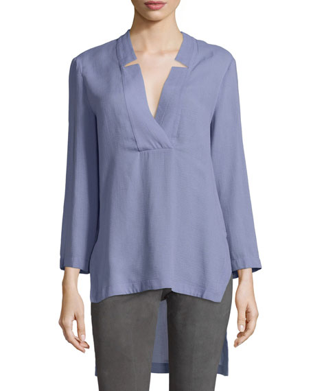 Halston Heritage Notched V Neck High-Low Tunic Top,