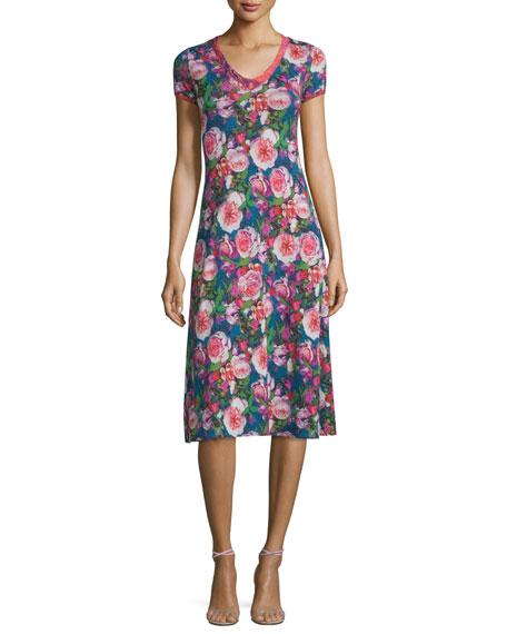 Fuzzi Rose-Print Short-Sleeve Dress