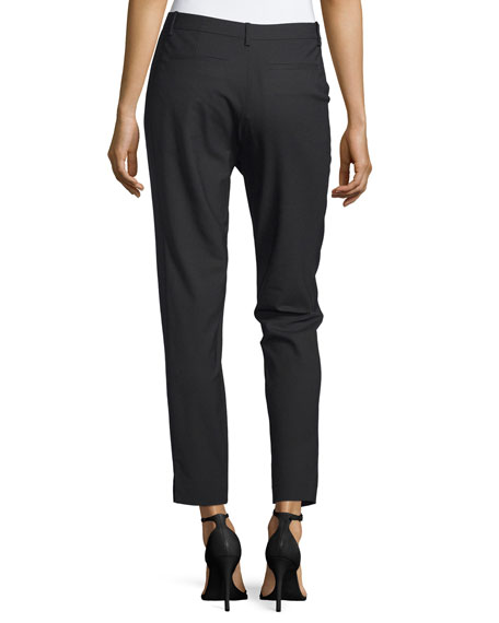 Slim Cropped Wool-Blend Pants, Black