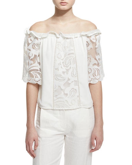 Alexis Hee Paneled Macrame Off-the-Shoulder Top, White