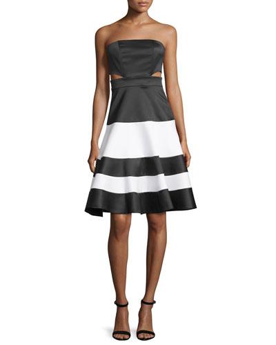 Simona Strapless Satin Cutout Dress, Black/White