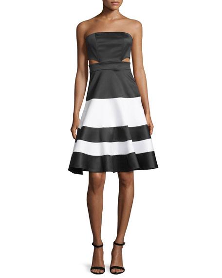 Alexis Simona Strapless Satin Cutout Dress, Black/White