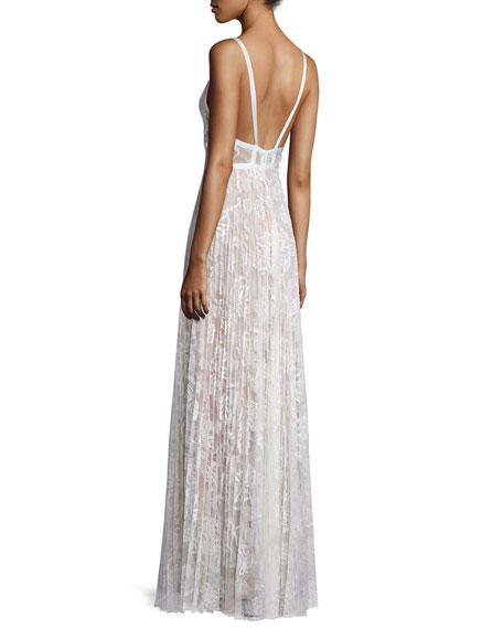 Isabella Pleated Lace Maxi Dress, White