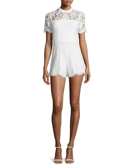 Delfine Short-Sleeve Lace Romper, White