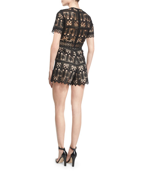 Alexandria Short-Sleeve Lace Romper, Black