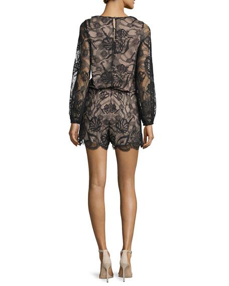 Marena Long-Sleeve Lace Romper, Black