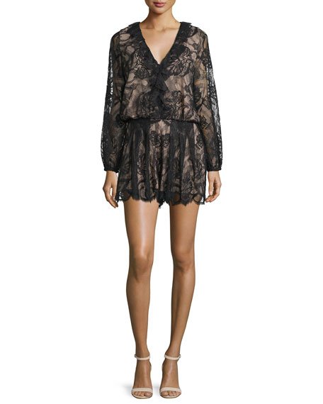 Marena Long-Sleeve Lace Romper, Black