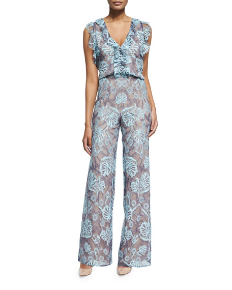Sibyle Sleeveless Floral Jumpsuit, Light Blue