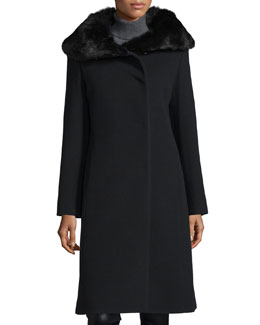 Fur-Collar Long Coat, Black