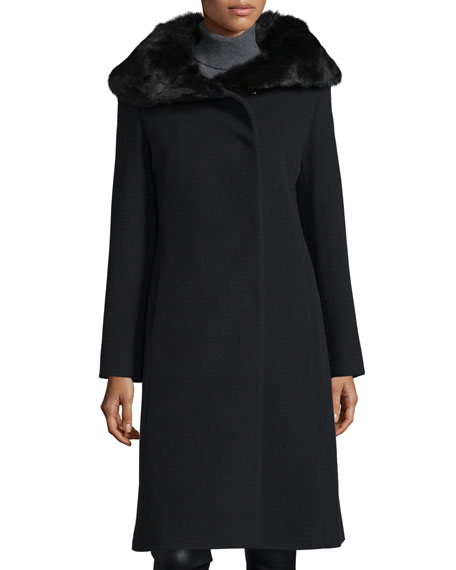 Cinzia Rocca Fur-Collar Long Coat, Black