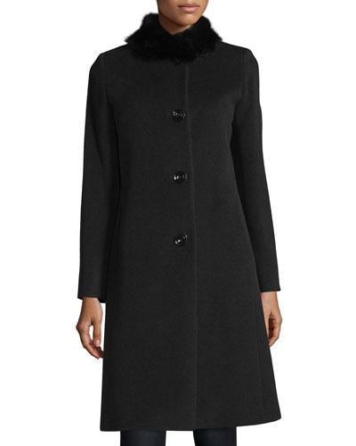 Fur-Collar Button-Front Coat, Black